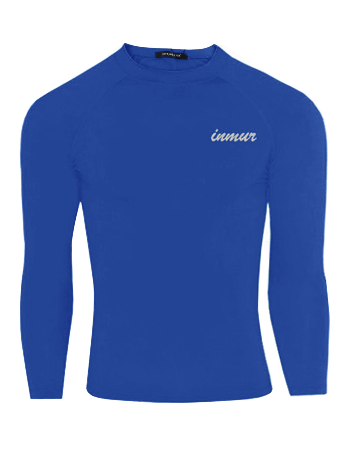 Men Round Neck Letters Detail Cozy Fit Sport Shirt Royal Blue M