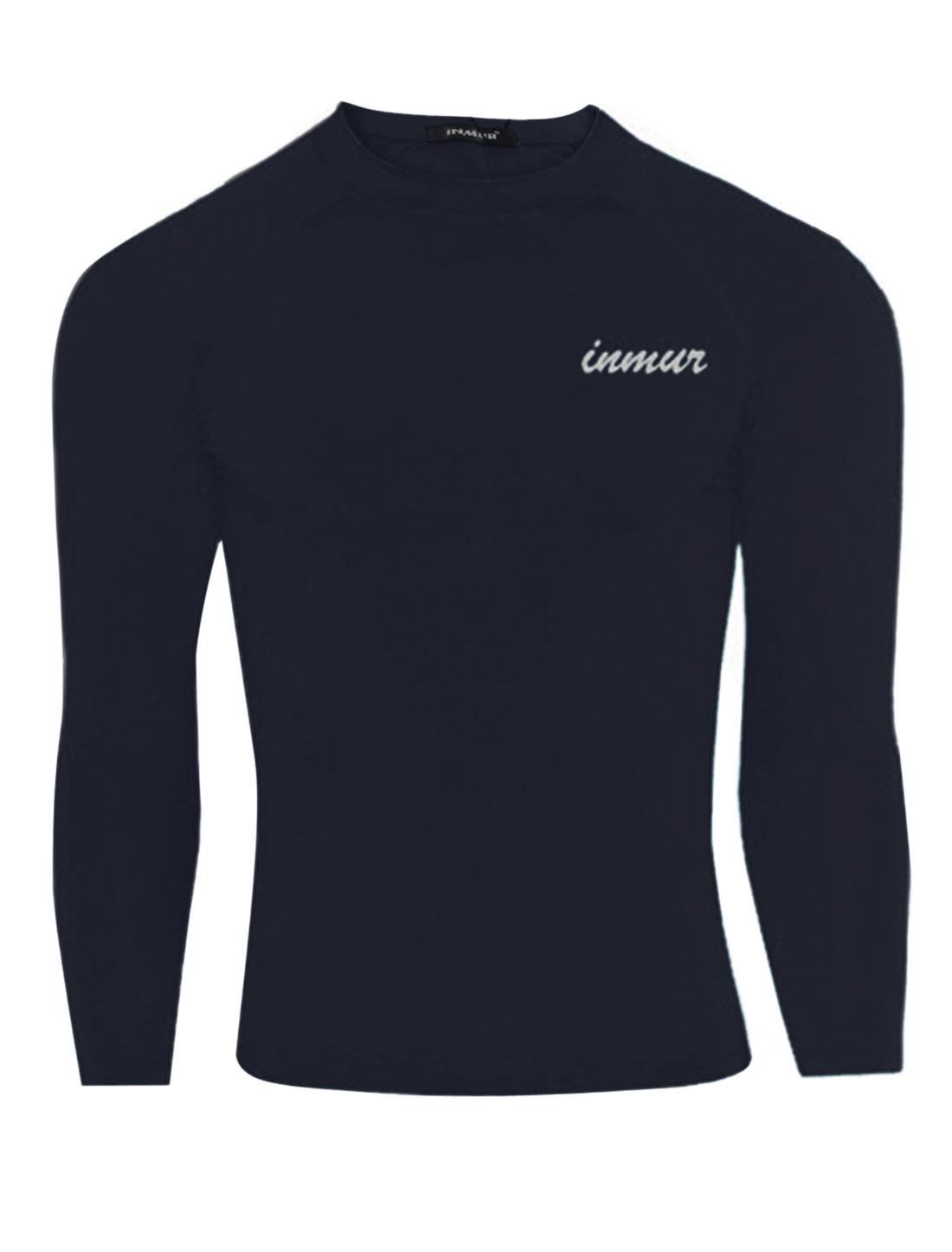 Men Pullover Round Neck Fashionable Sport Shirt Navy Blue M