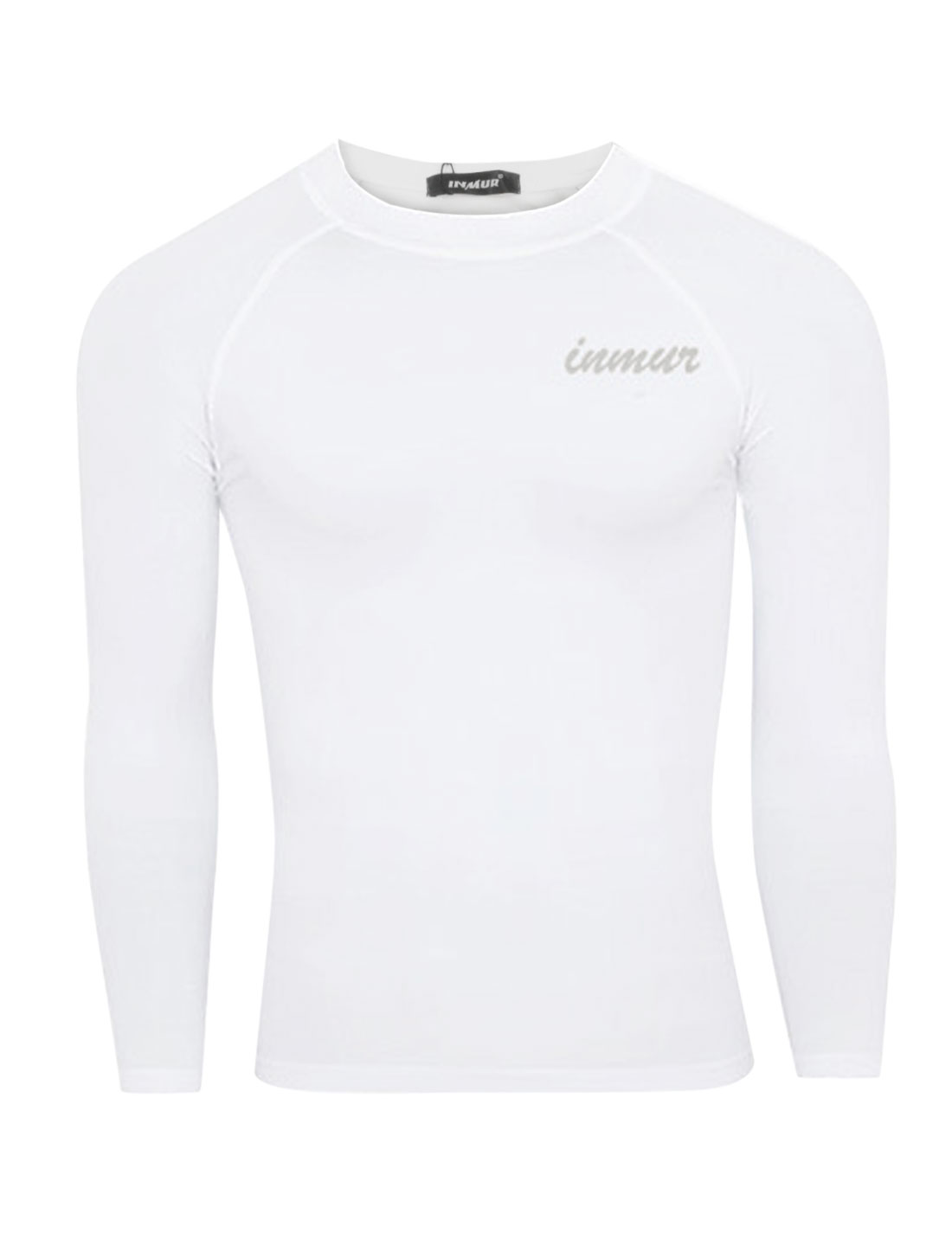 Men Round Neck Letters Detail Soft Sport Shirt White M
