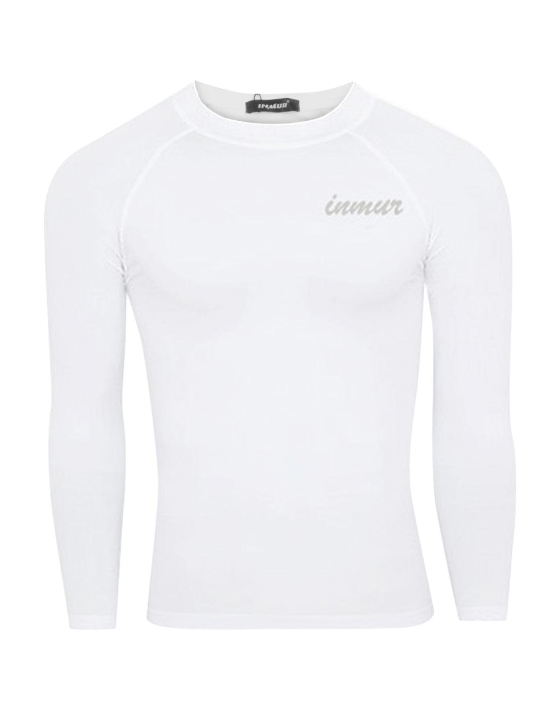 Men Pullover Round Neck Letters Detail Soft Sport Shirt White M