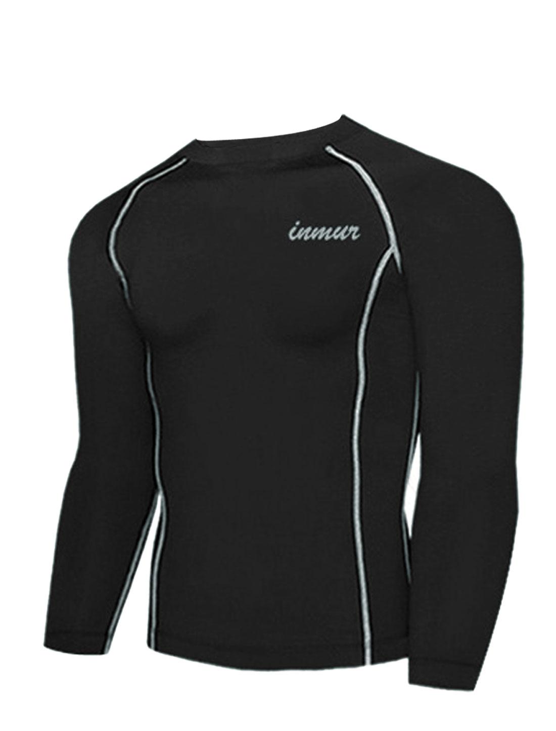 Men Pullover Letters Detail Fashionable Sport Shirt Black M