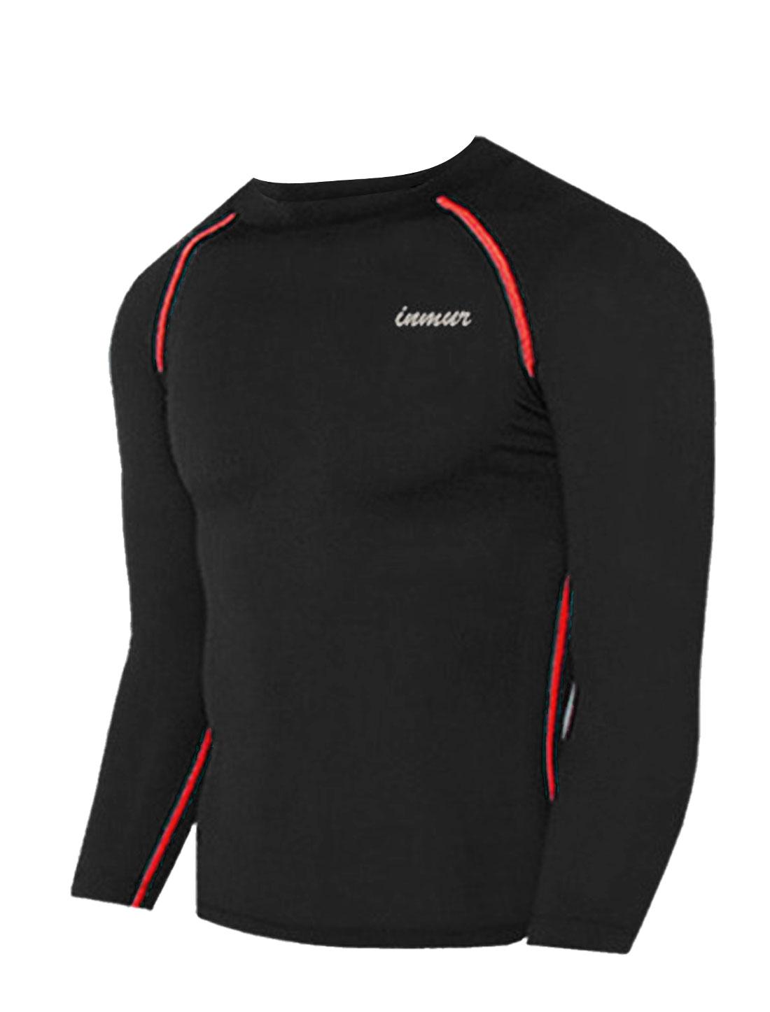 Men Round Neck Letters Detail Casual Sport Shirt Black M