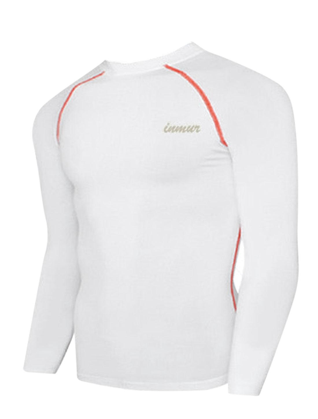 Men Soft Round Neck Letters Detail Cozy Fit Sport Shirt White M
