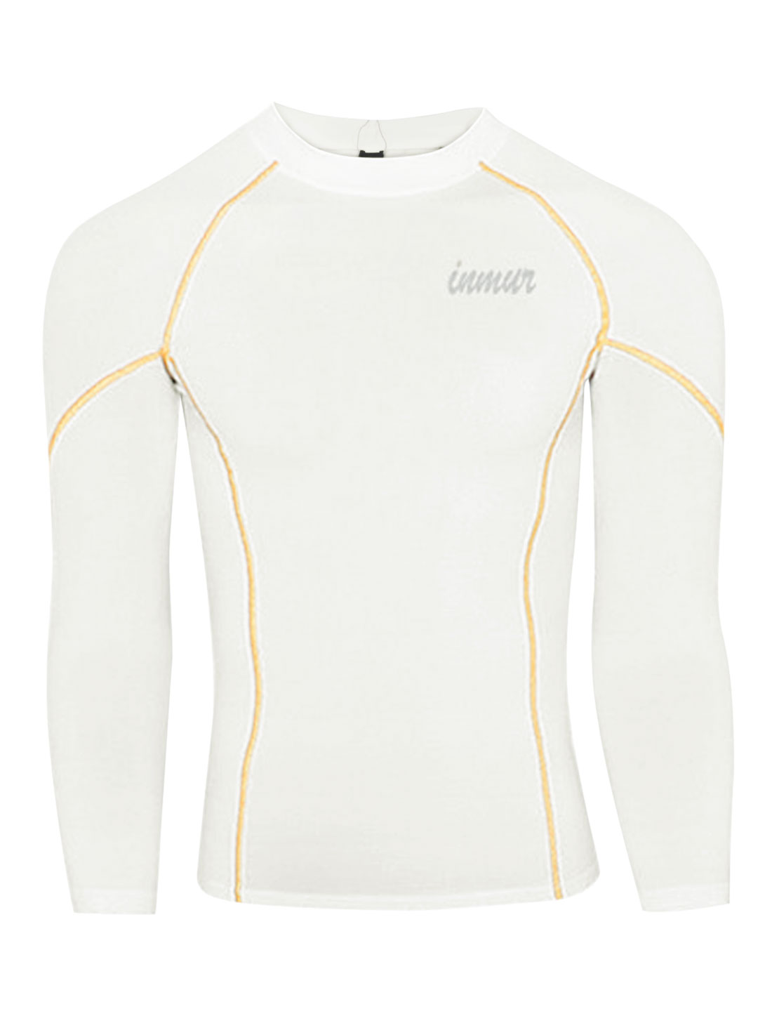 Men Pullover Long Sleeve Letters Detail Fitness Sports T-shirt White M
