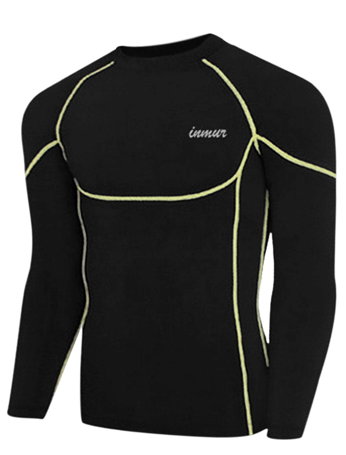 Men Round Neck Letters Detail Cozy Fit Sport Shirt Black M