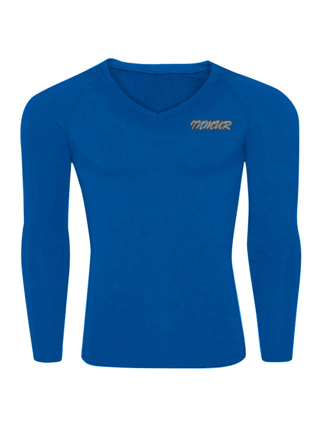 Men V Neck Letters Detail Slipover Skintight Sports T-shirt Sea Blue M