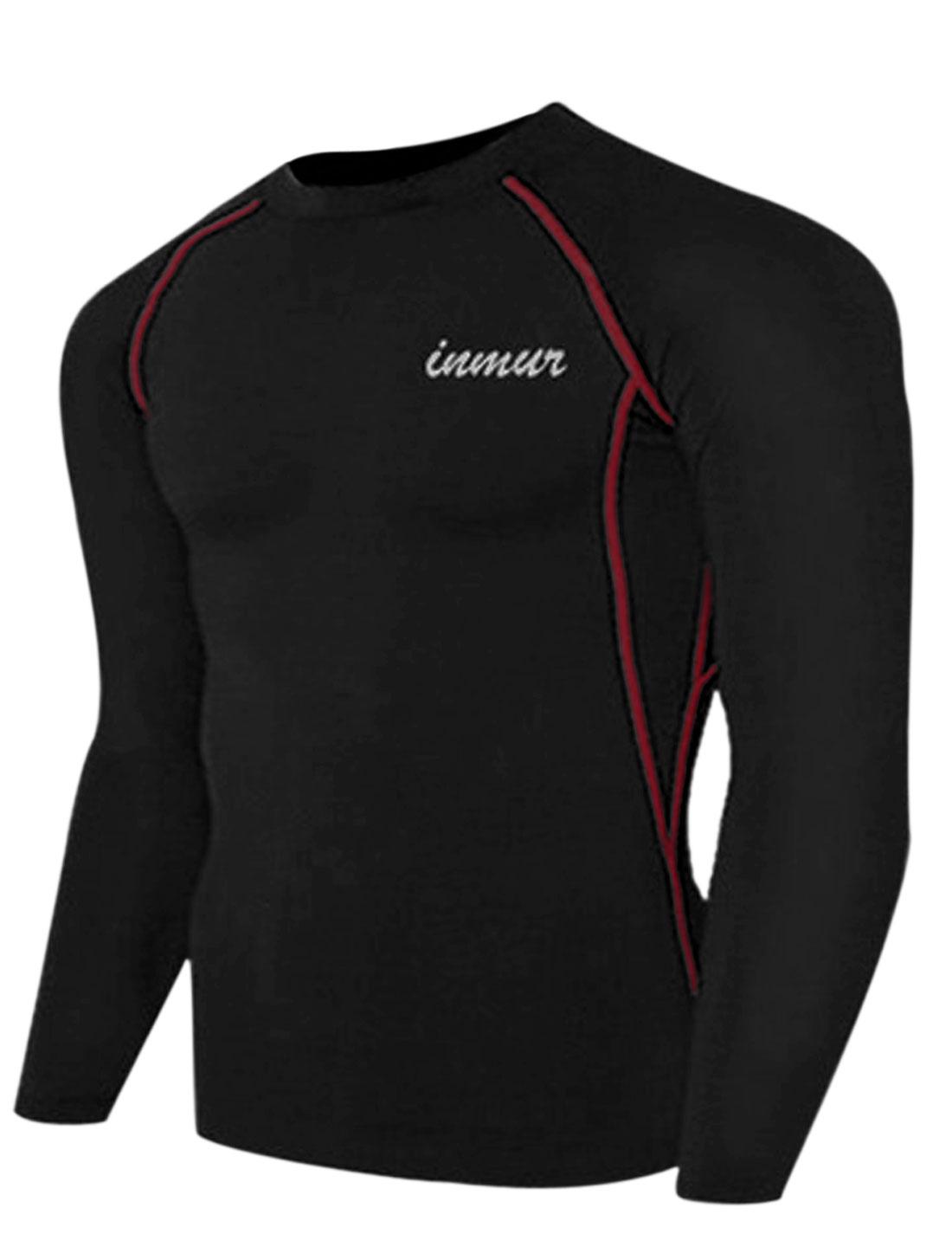 Men Round Neck Letters Detail Soft Cozy Fit Sport Shirt Black M