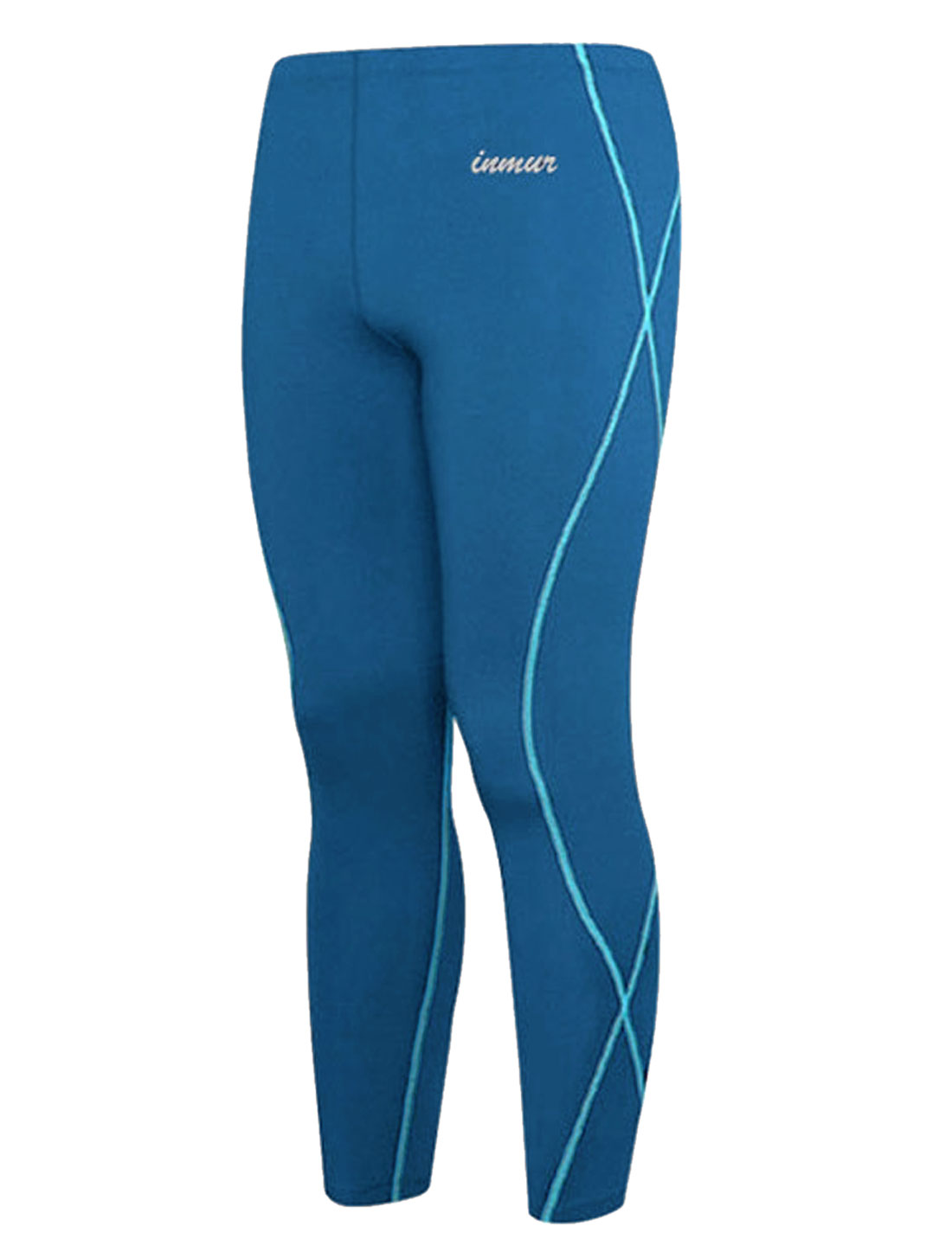 Men Stretchy Waist Letters Detail Cycling Trousers Blue W30