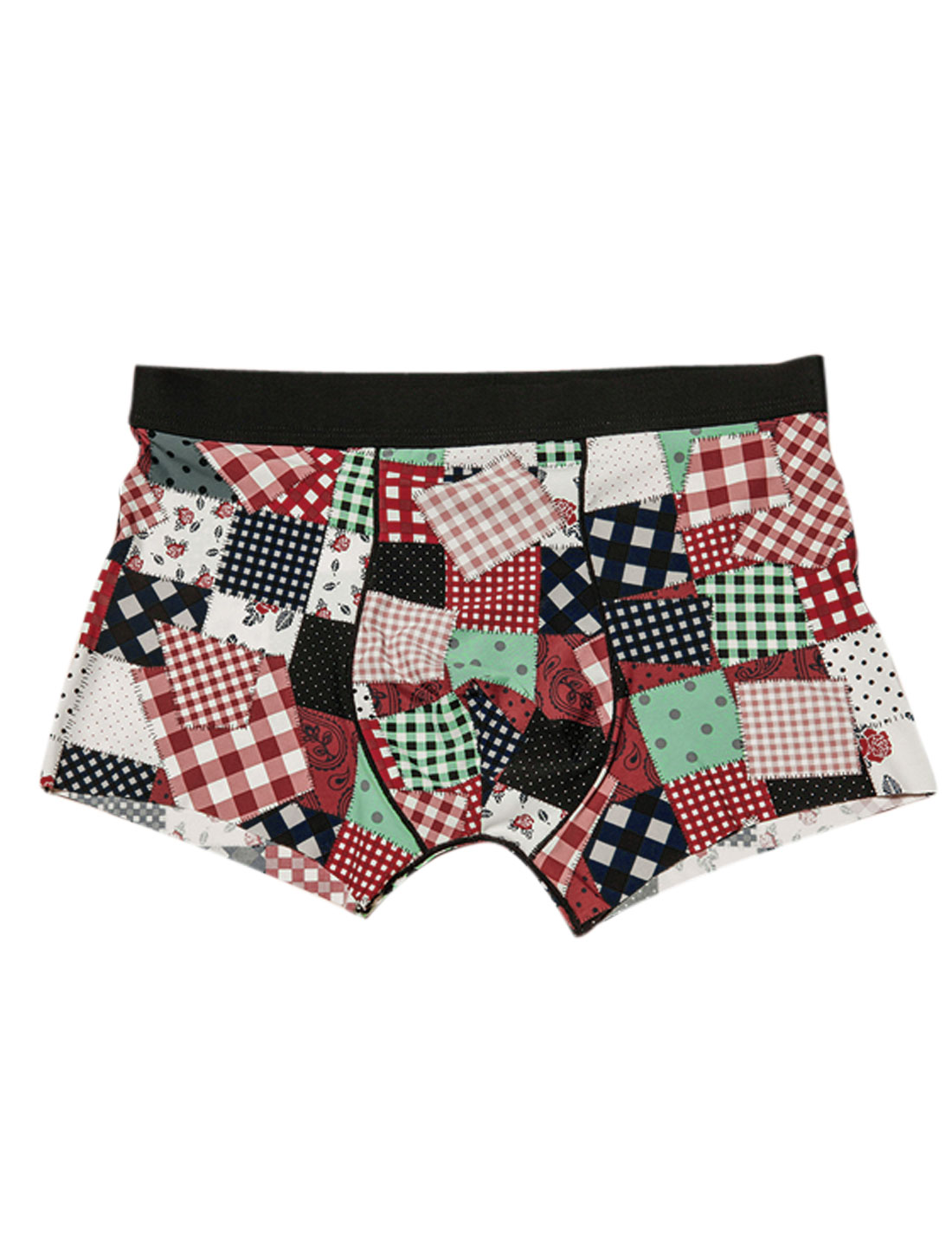 Men Floral Plaids Dots Print Patched Design Soft Boxer Briefs Light Green Burgundy W30
