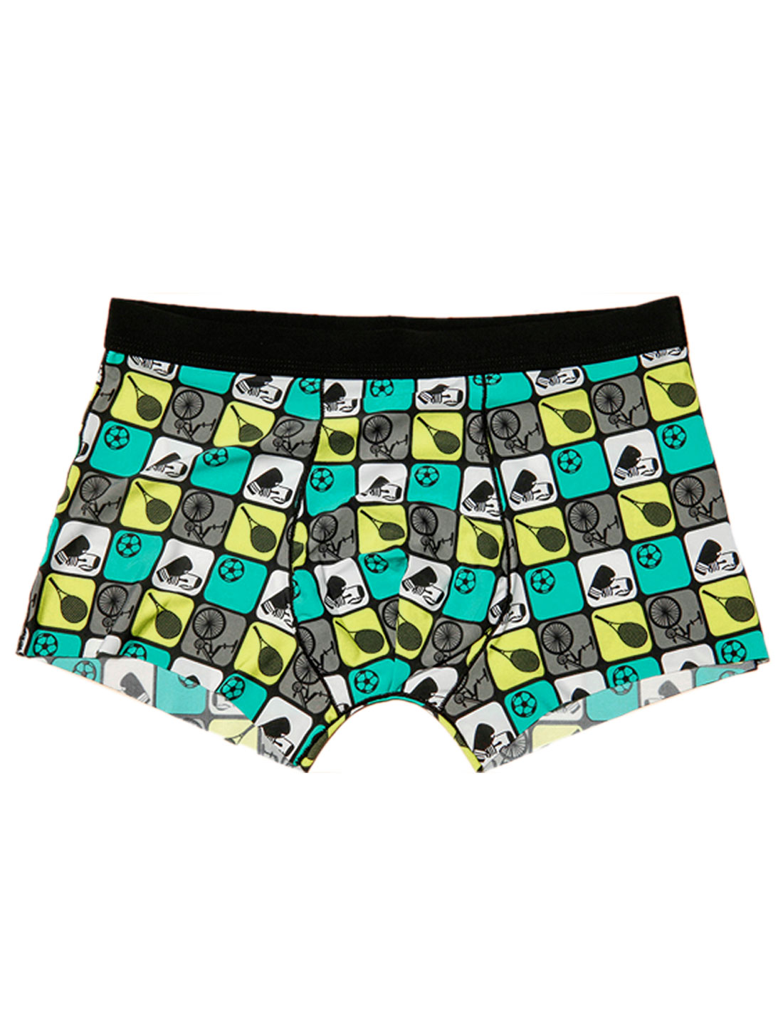Men Elastic Waist Badminton Bicycle Print Stretchy Boxer Briefs Multicolor W30