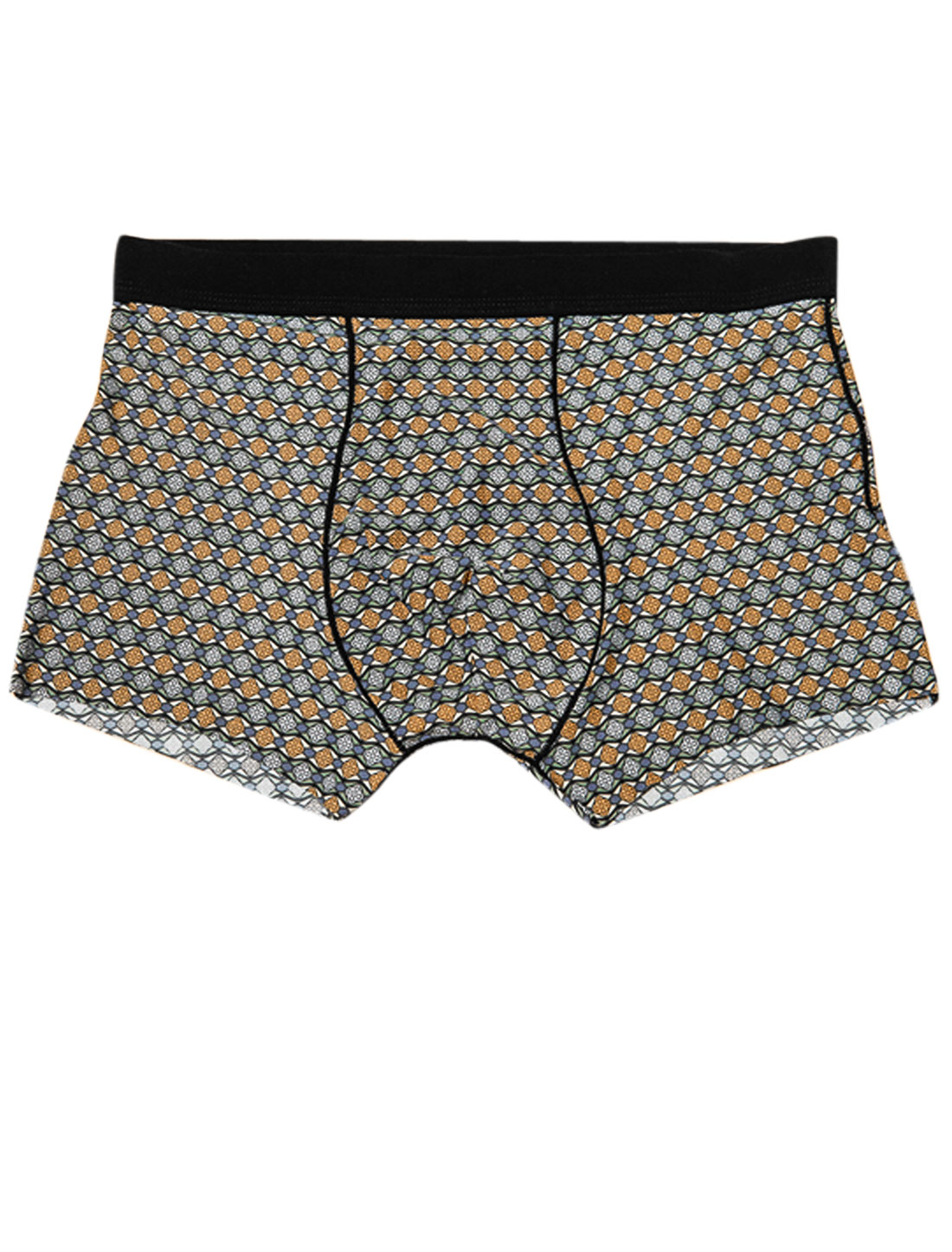 Men Mid-Rise Geometric Cross Pattern Stretchy Boxer Briefs Gray Orange W30