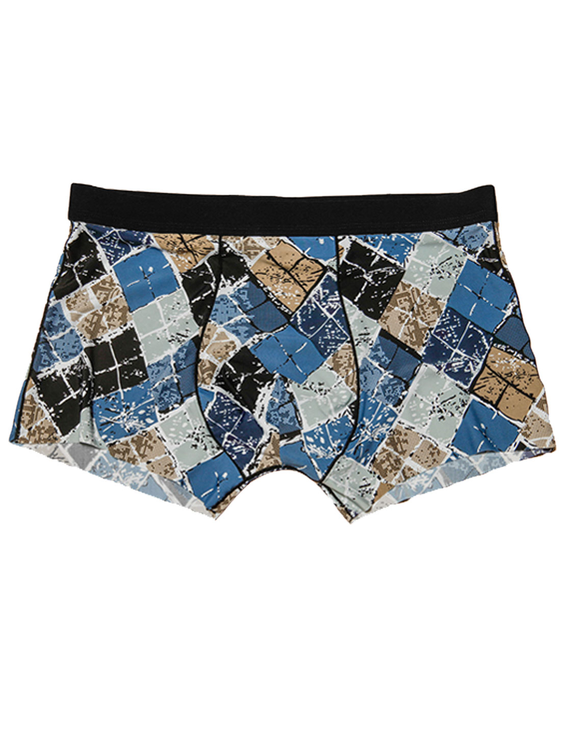 Men Elastic Waist Argyle Pattern Stretch Boxer Briefs Navy Blue Brown W30