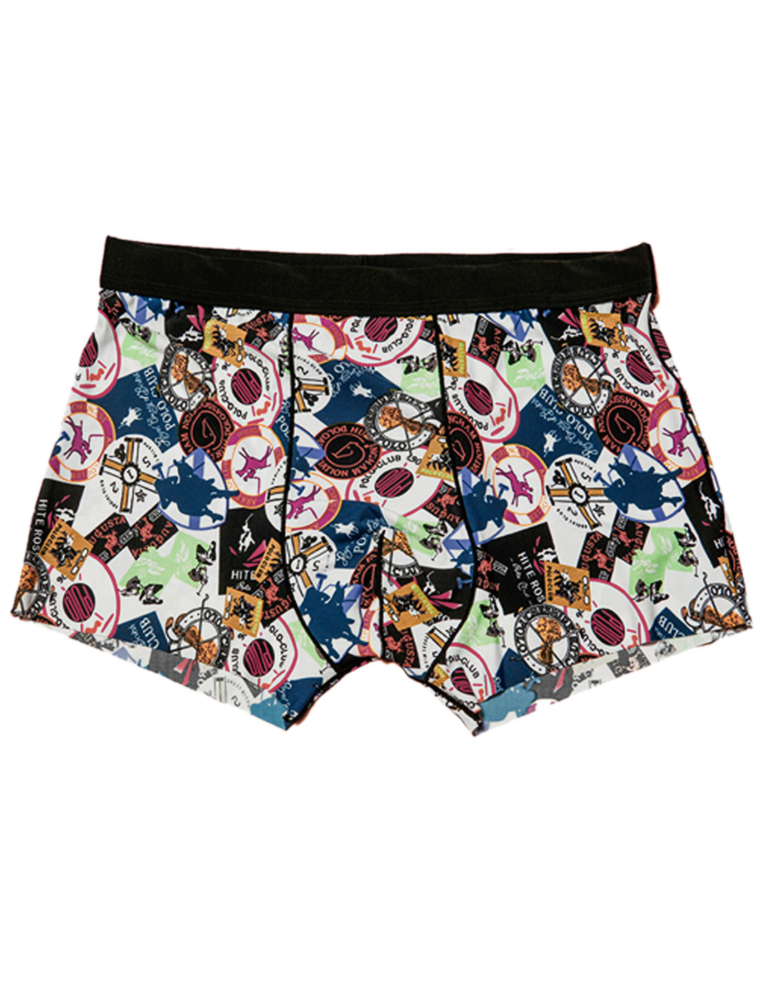 Men Mid Rise Circle Letters Print Ride Horse Pattern Soft Boxer Briefs Multicolor W30