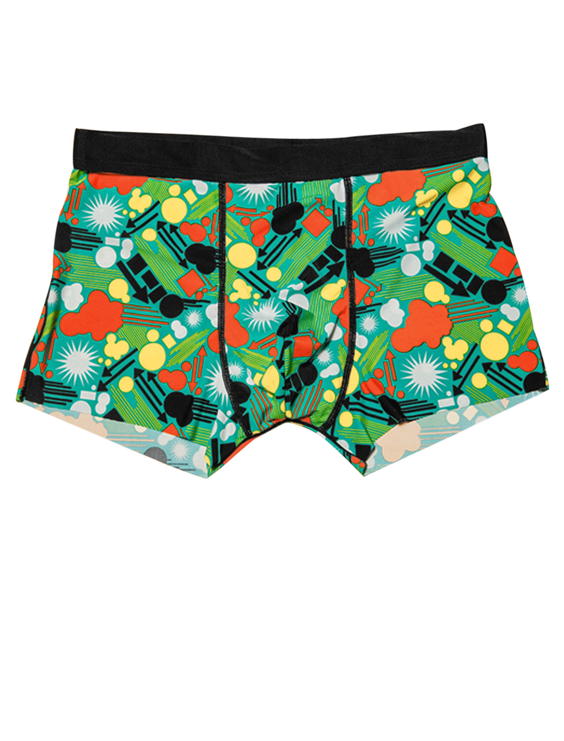 Men Elastic Waist Geometric Novelty Print Stretchy Boxer Briefs Green Teal W30