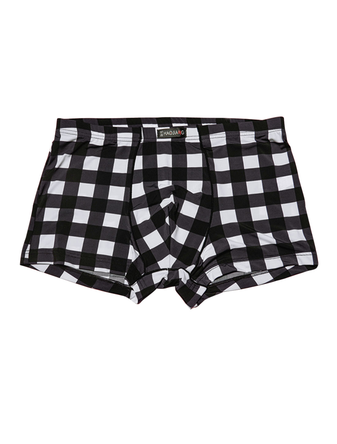 Men Elastic Waist Plaids Pattern Stretchy Boxer Briefs Multicolor W30