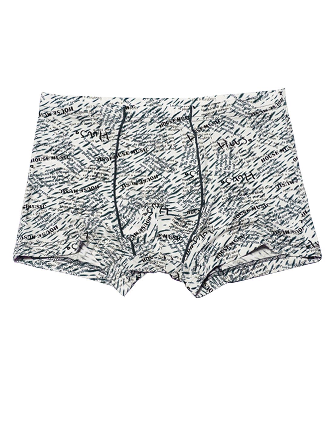 Men Elastic Waist Novelty Letters Print Soft Boxer Briefs Gray W30