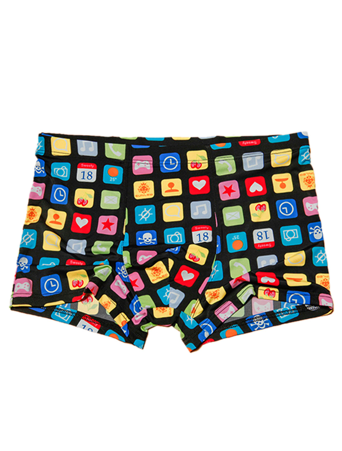Men Elastic Waist Cell Phone Keypads Pattern Stretchy Boxer Briefs Black W30
