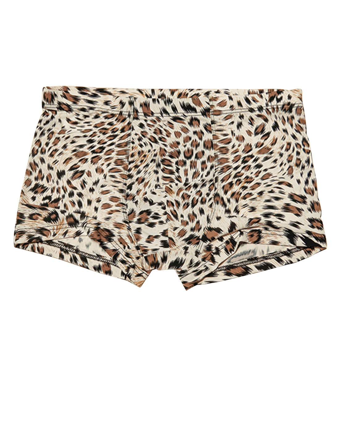 Men Stretch Waist Leopard Print Fashion Boxer Briefs Beige Brown W30