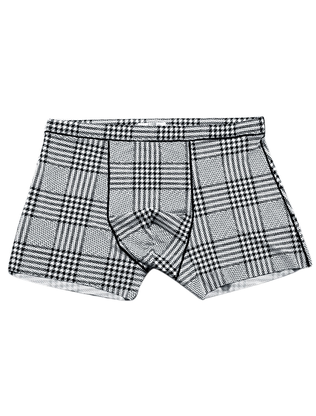 Men Houndstooth Plaids Pattern Stretchy Boxer Brief White Black W30