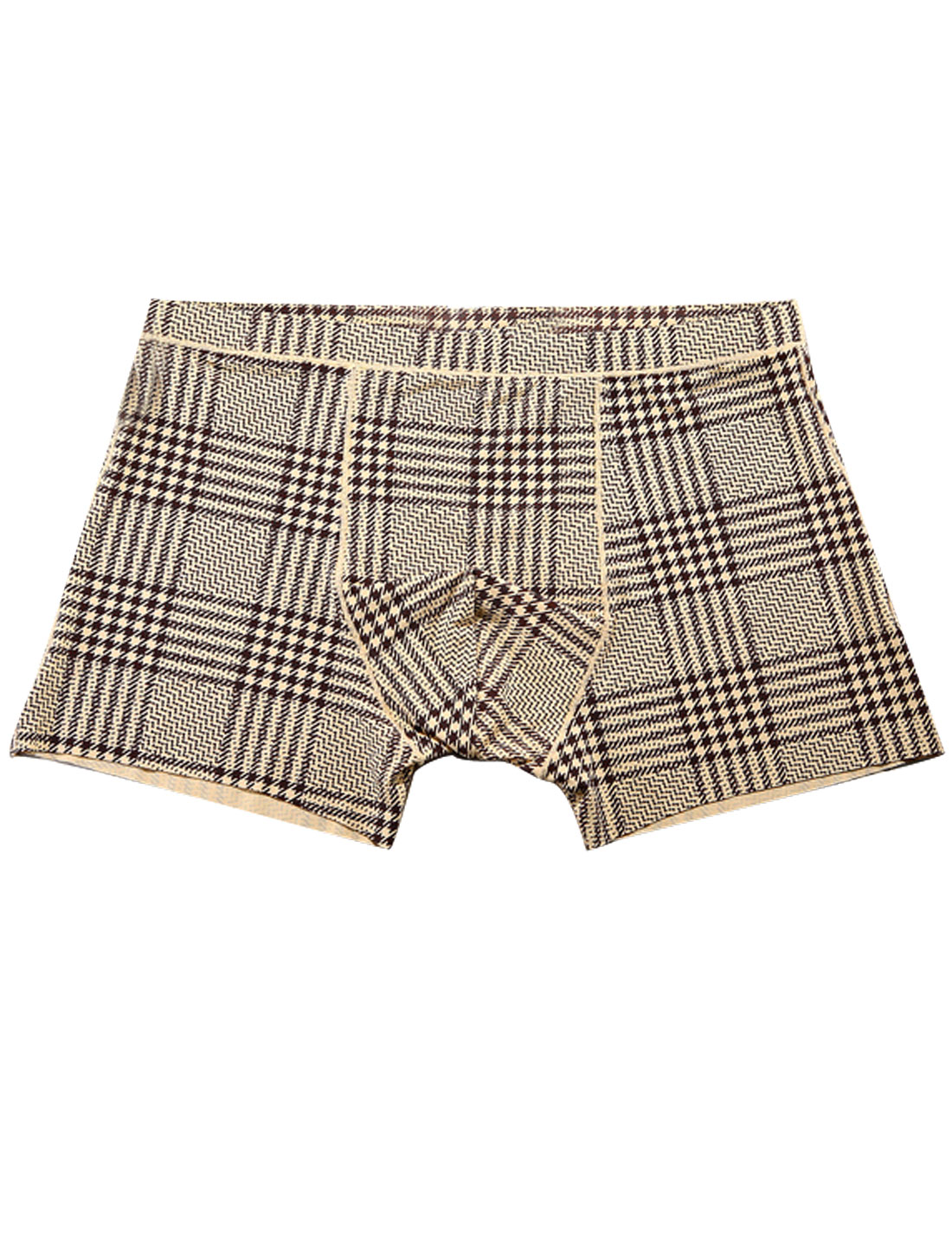 Men Houndstooth Pattern Stretchy Waist Boxer Brief Beige Black W30