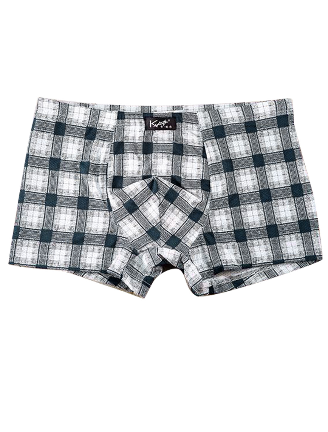 Men Plaids Pattern Underwear Stretchy Boxer Brief Navy Blue White W30