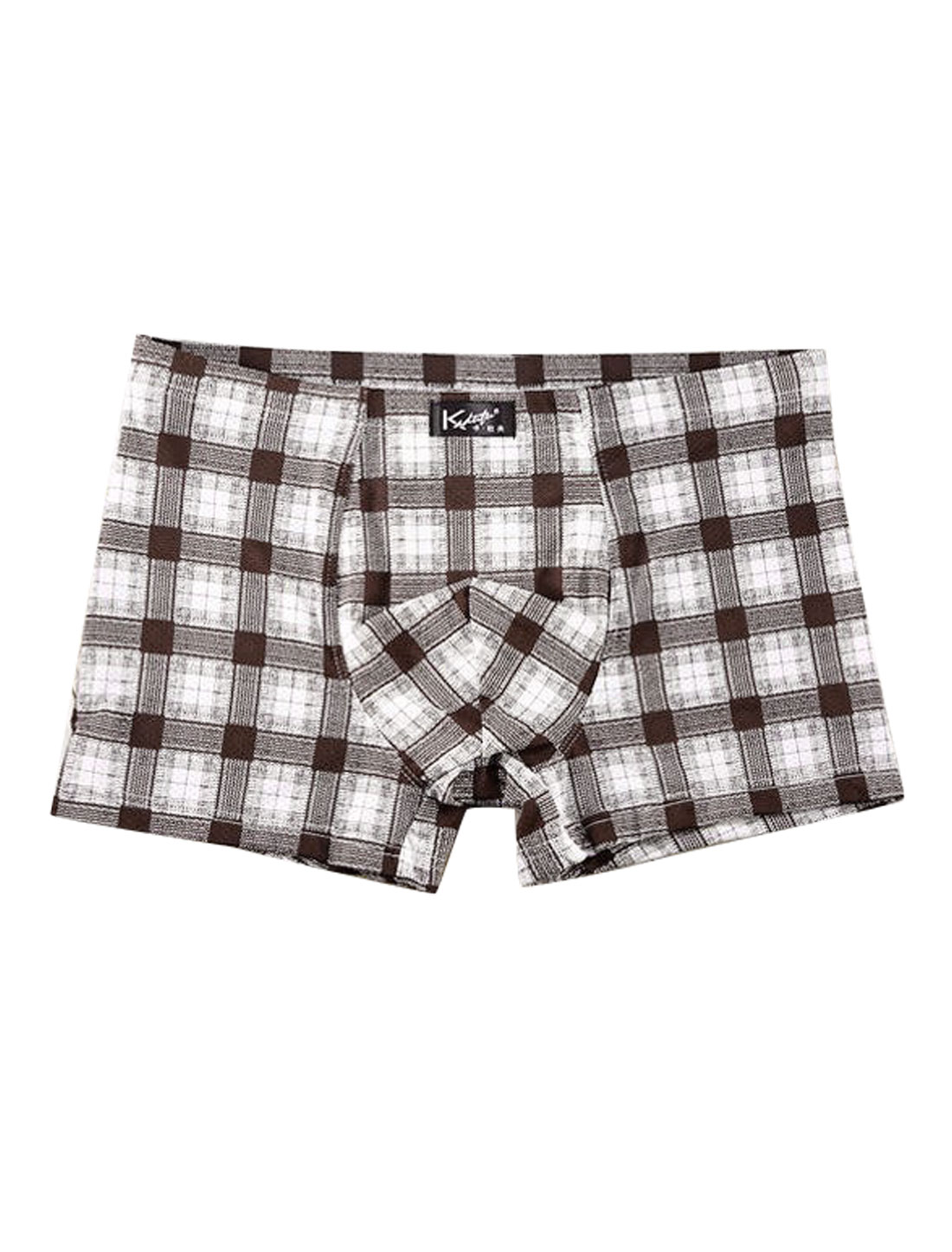 Men Checks Pattern Stretchy Boxer Brief Coffee Beige W30
