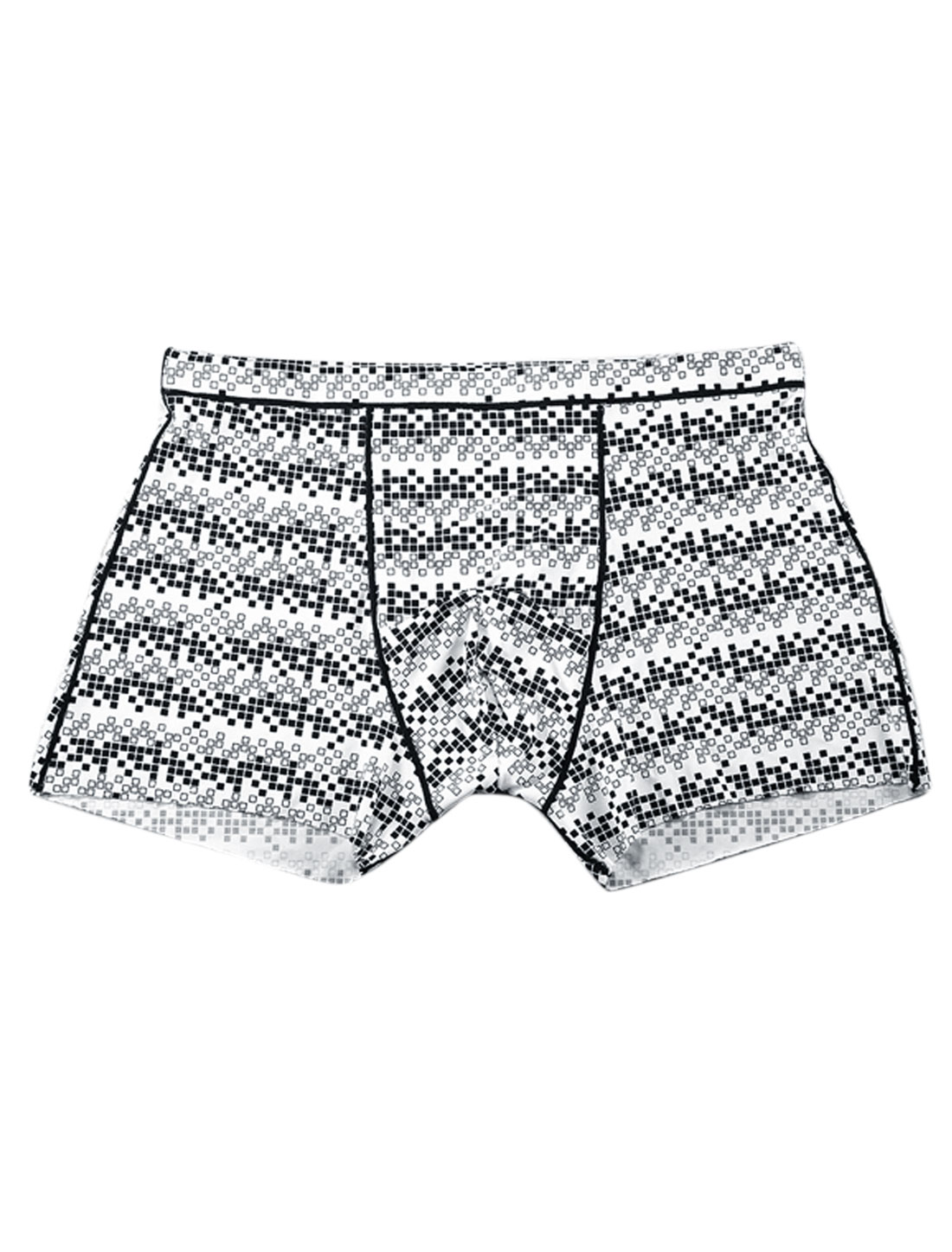 Men Elastic Waist Underwear Plaids Pattern Boxer Brief White Black W30