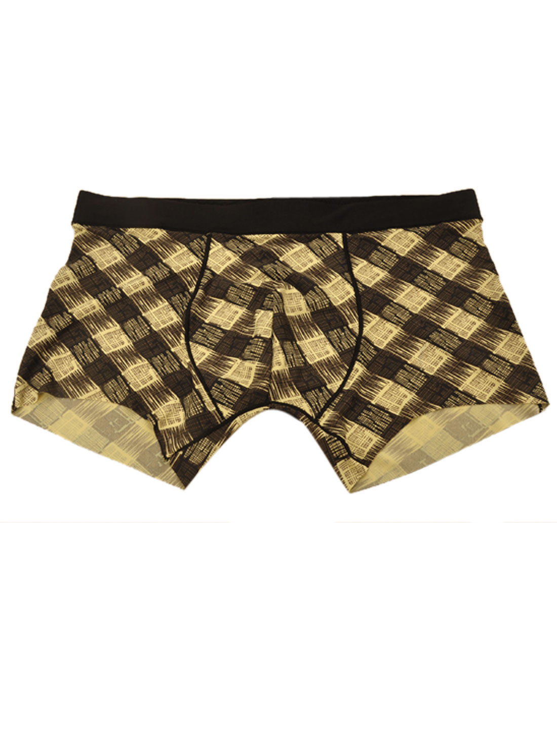 Men Stretchy Waist Plaids Pattern Boxer Brief Yellow Black W30