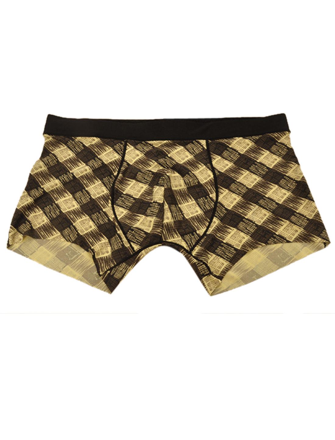 Men Stretchy Waist Plaids Pattern Boxer Brief Yellow Black W30