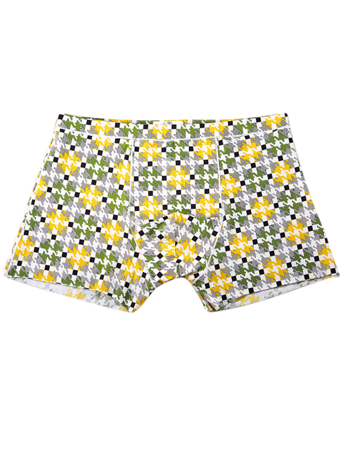 Men Houndstooth Pattern Stretchy Boxer Brief Yellow Moss Black W30