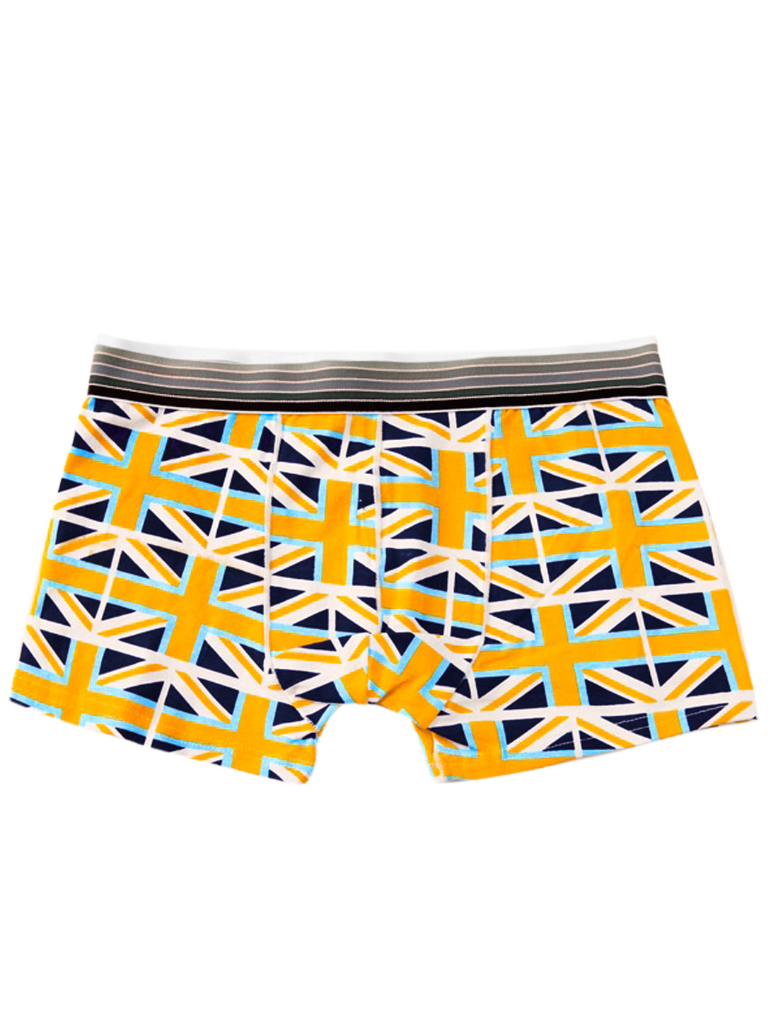 Men Elastic Waistband Union Flag Pattern Fashion Boxer Briefs Navy Blue Yellow W30