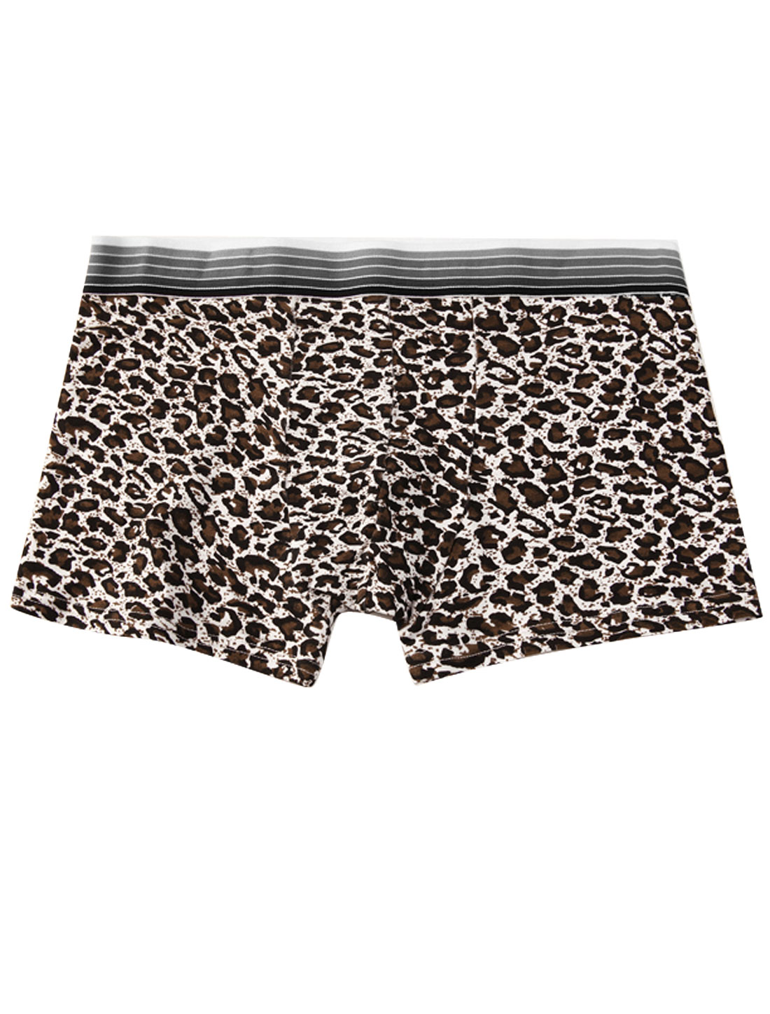 Men Elastic Waistband Leopard Print Fashion Boxer Briefs Black Brown W30
