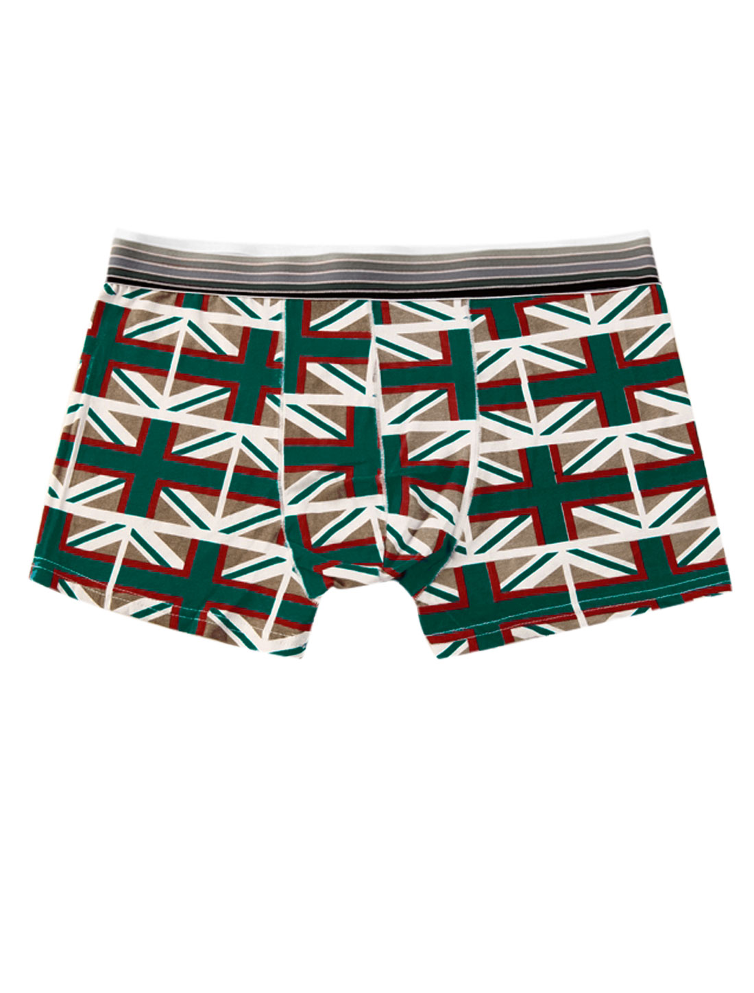 Men Elastic Waistband Union Flag Pattern Stylish Boxer Briefs Green Coffee W30