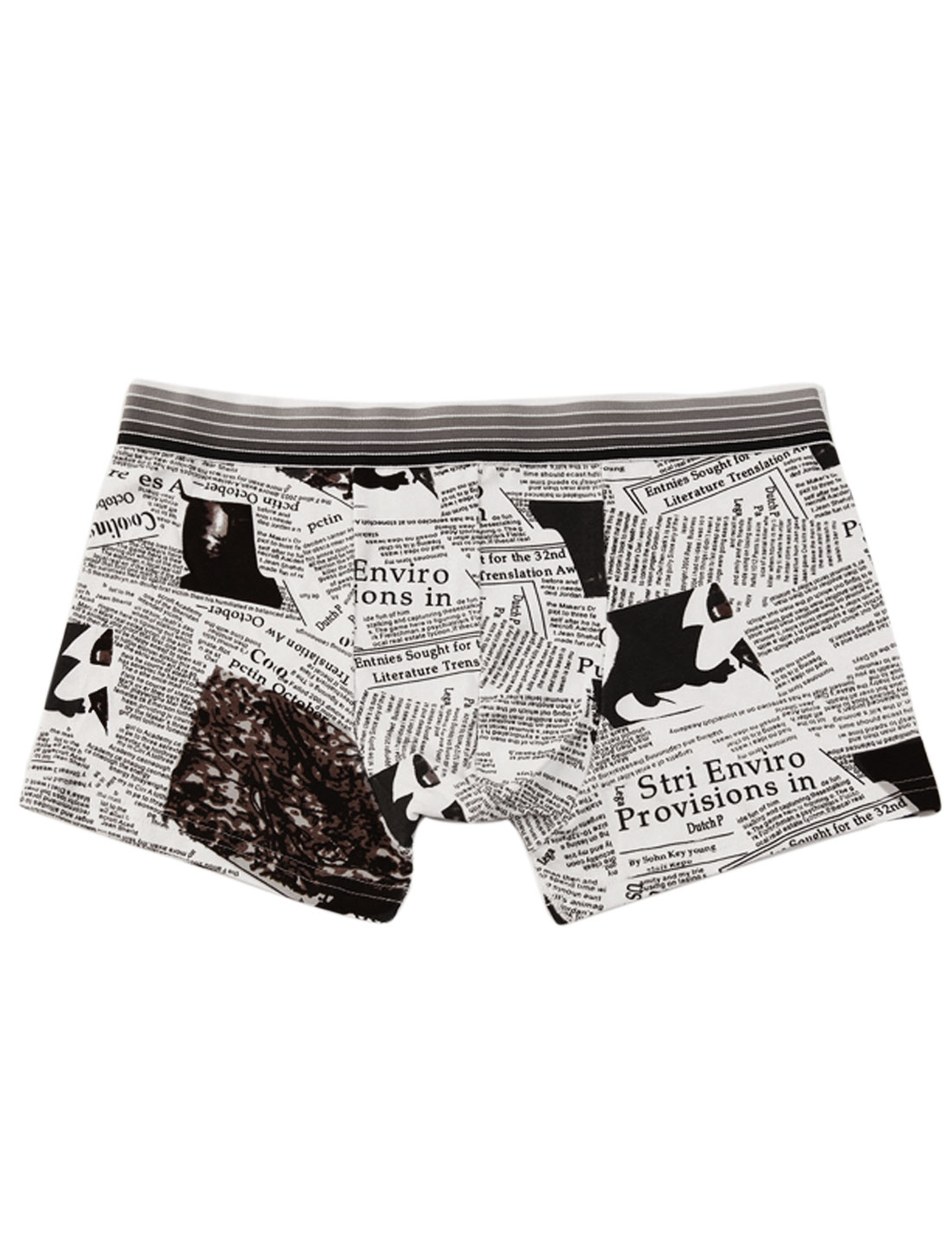 Men Elastic Waistband Newspapers Pattern Fashion Boxer Briefs White Coffee W30