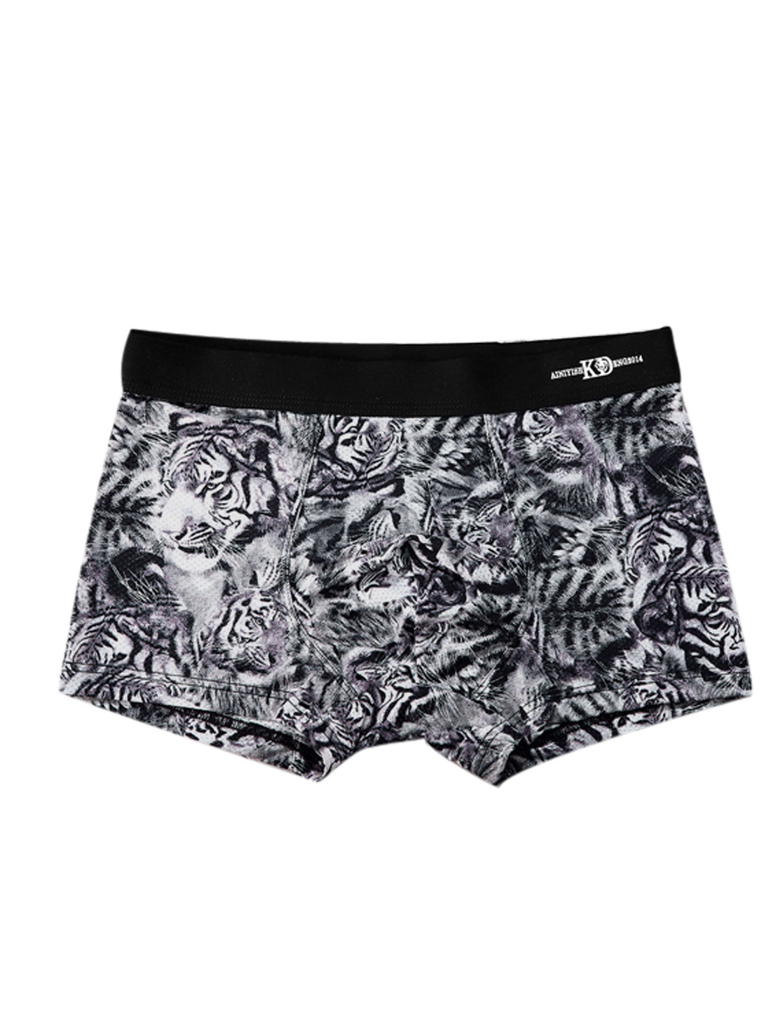 Men Stretchy Waist Tigers Pattern Boxer Brief Black W30