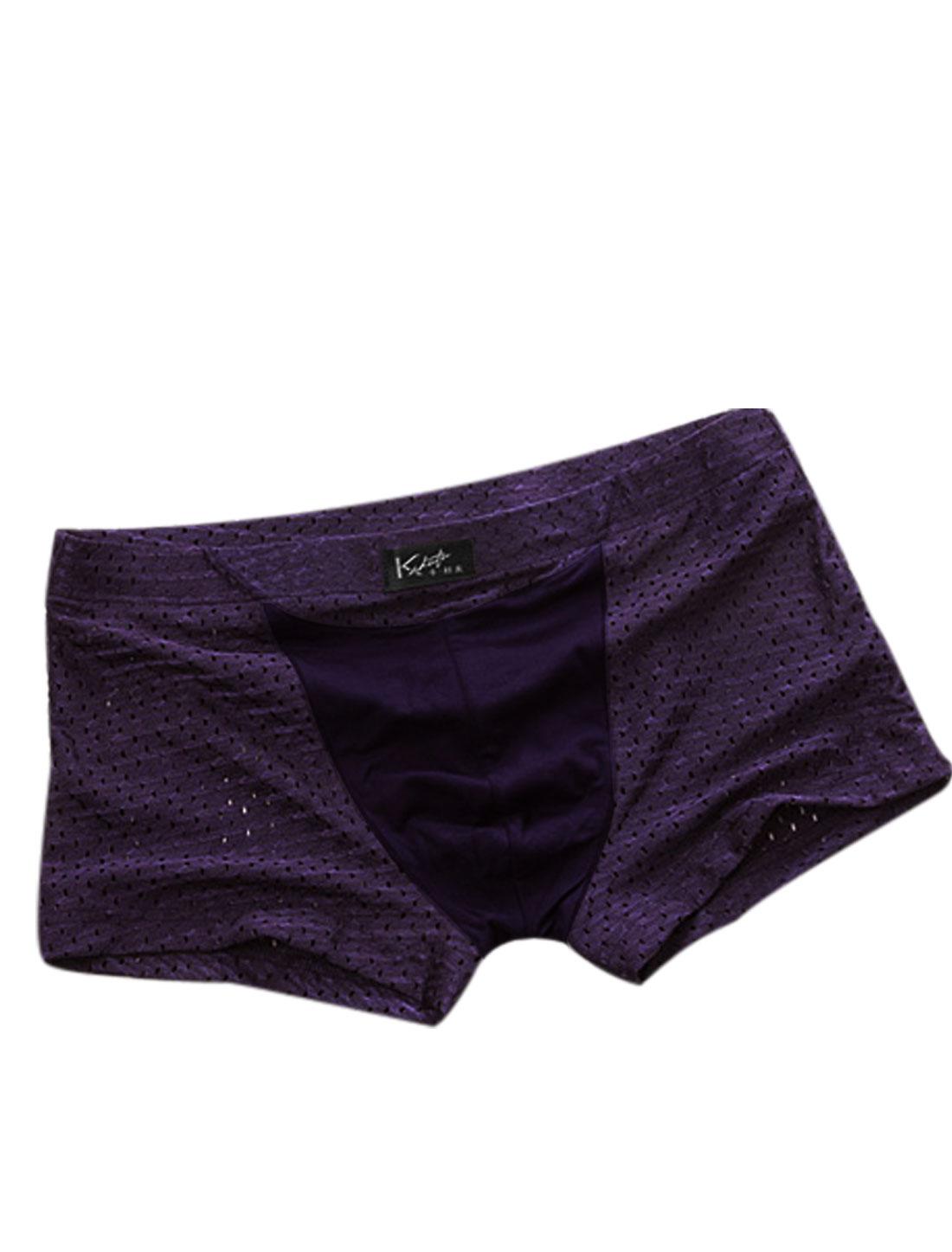 Men Fashion Style Hollow Out Design Boxer Brief Dark Purple W30