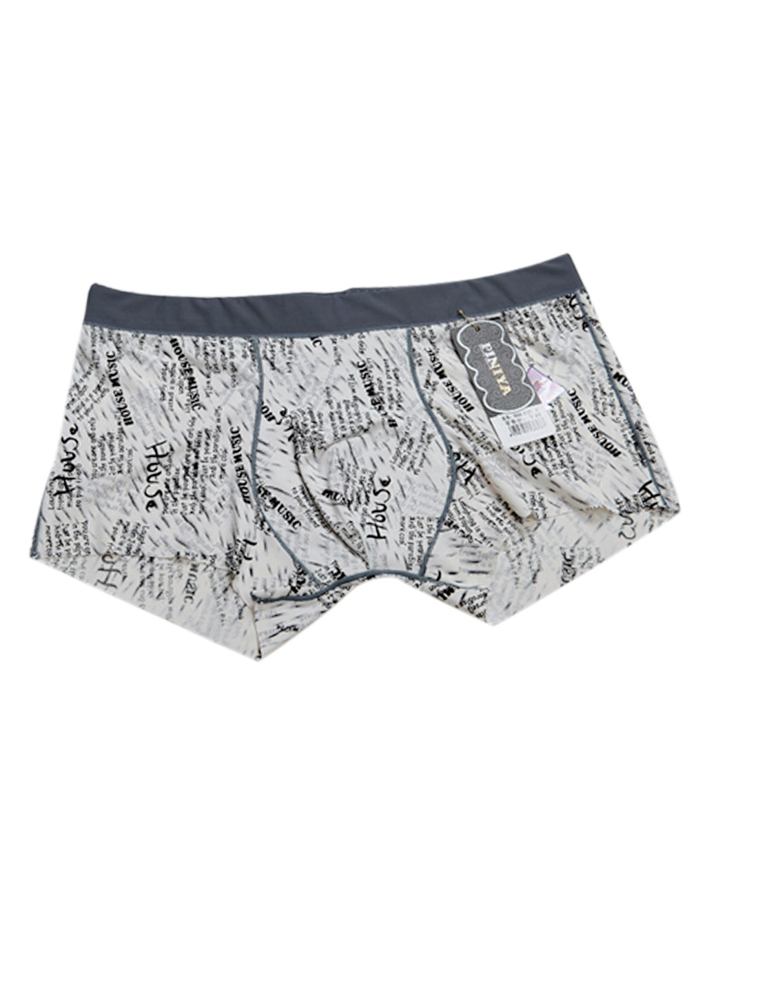 Men Letters Pattern Elastic Waist Stretchy Boxer Brief Black White W30