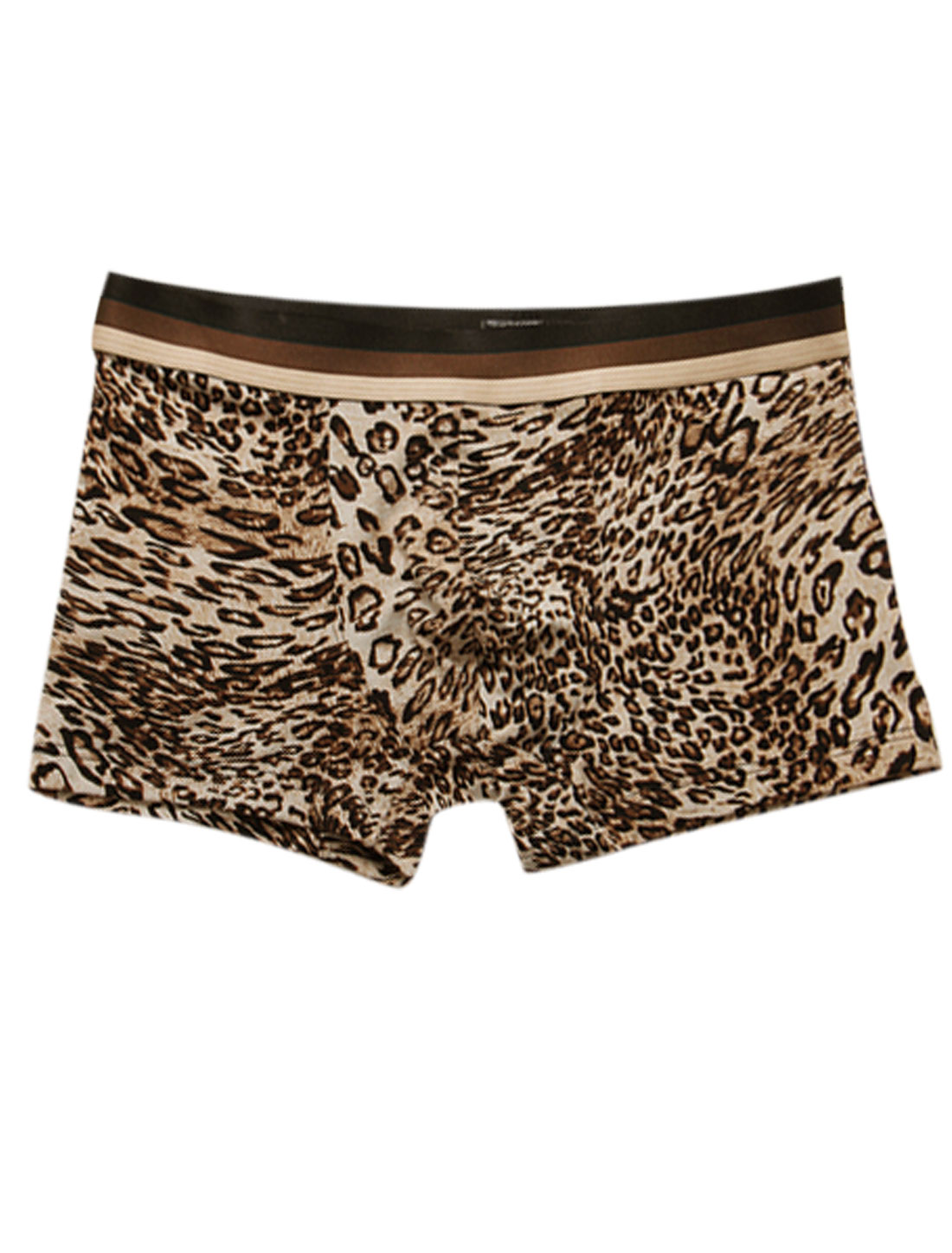 Men Leopard Pattern Elastic Waist Stretchy Boxer Brief Camel Black W30