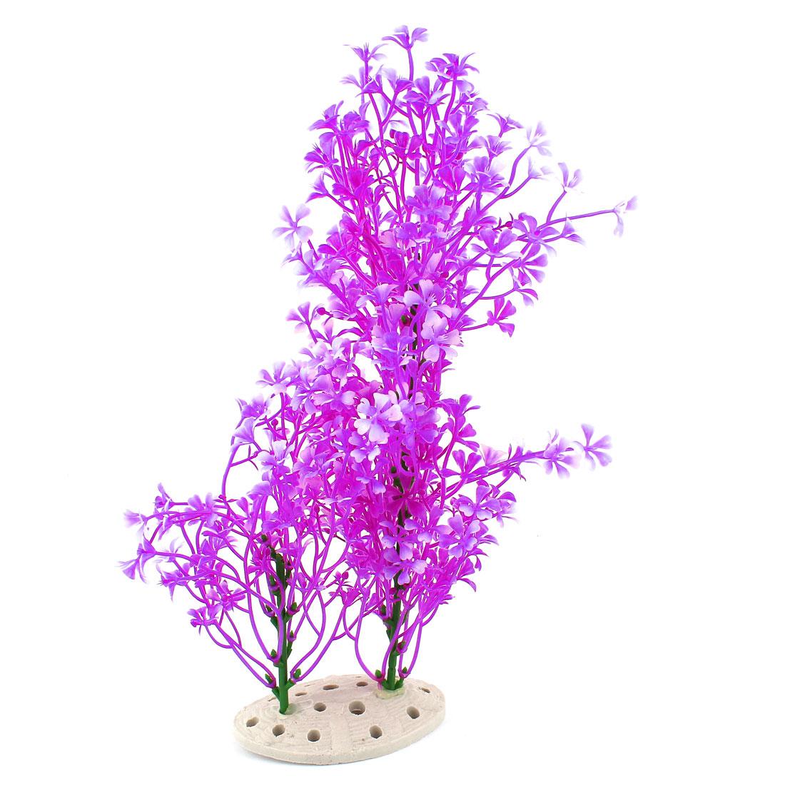 """Aquarium Underwater Plastic Artificial Grass Flower Plant Decor Fuchsia 13"""" High"""