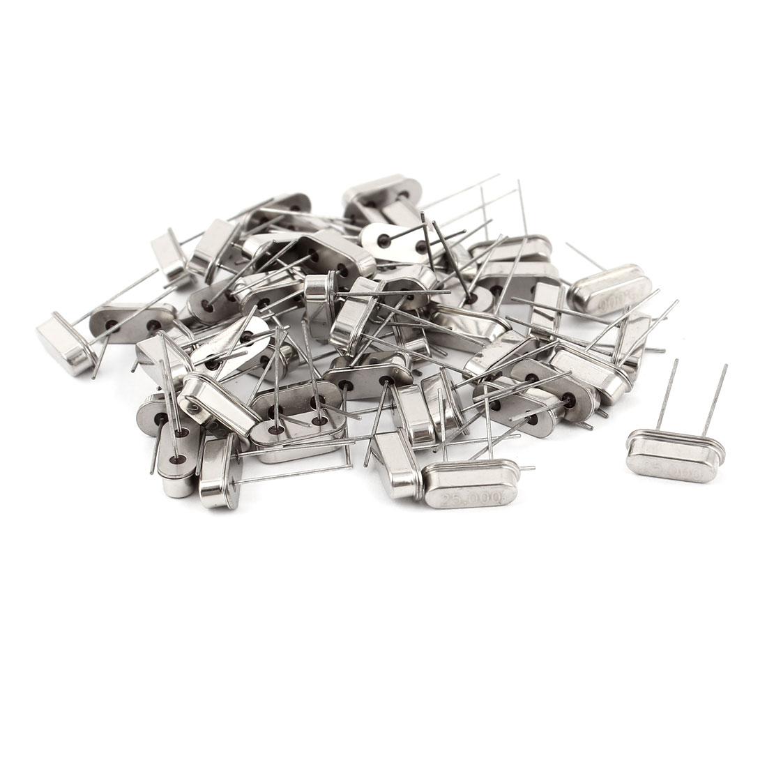 50 Pcs HC-49S 25MHz Low Profile Quartz Crystal Oscillators Silver Tone