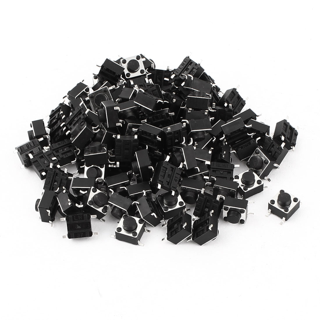 100 Pcs SMD 4 Pins Push Button Momentary Tactile Switch 6x6x5mm