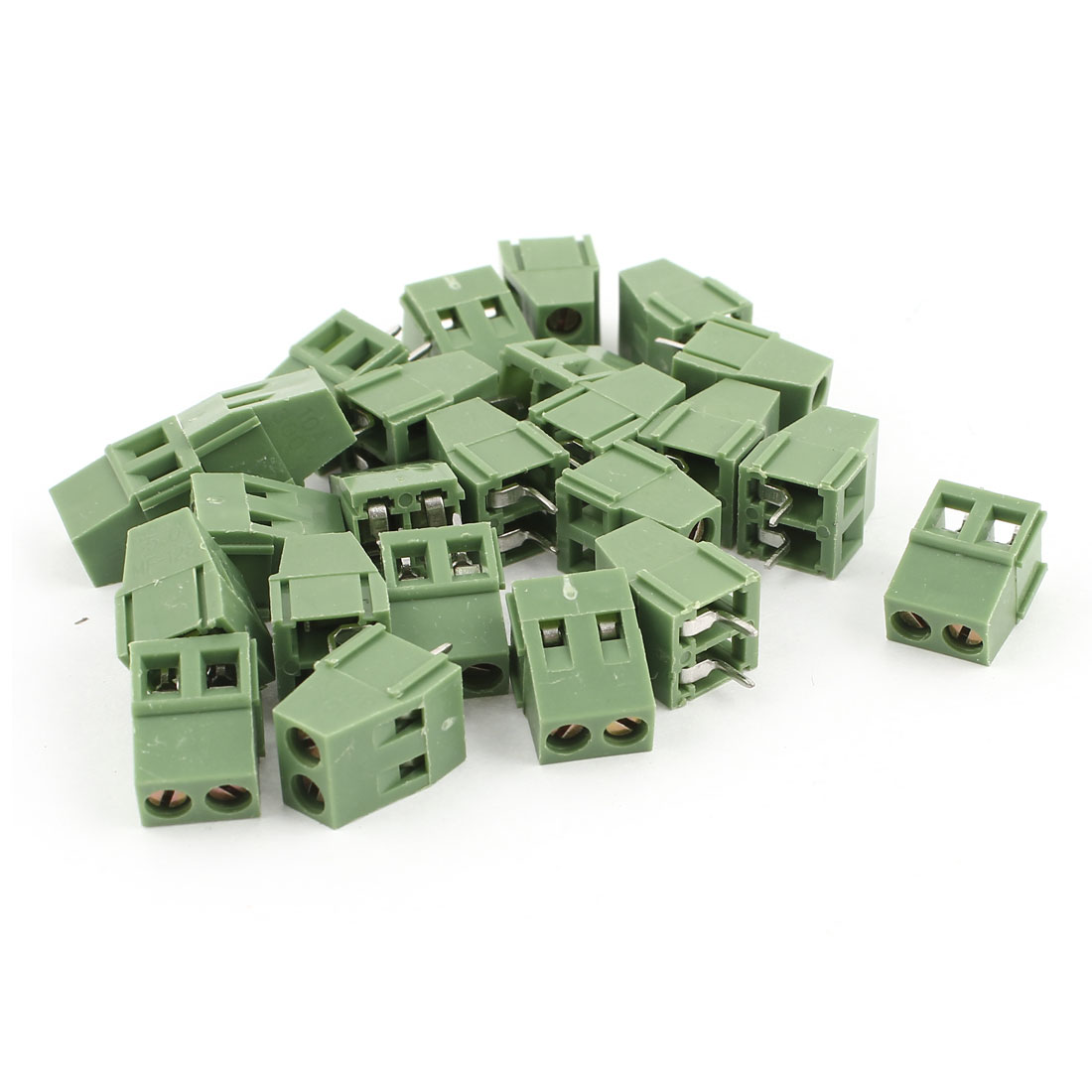 20 Pcs 2Pin 5mm 2Position Screw PCB Terminal Block Connector Green 300V 10A