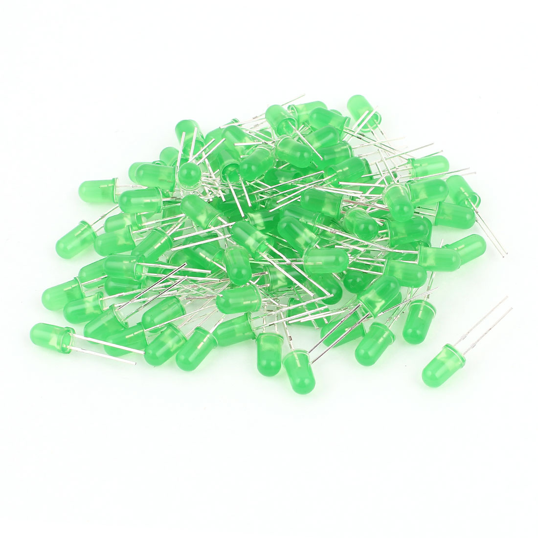 100 Pcs 5mm Round Head LED Green Light Emitting Diodes