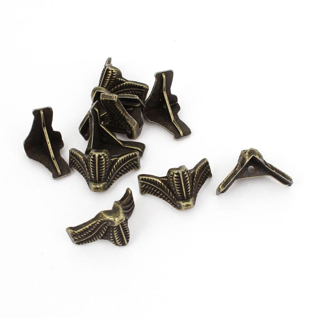 10 Pcs 18mm x 18mm x 15mm Vintage Style Corner Angle Brackets Braces Bronze Tone
