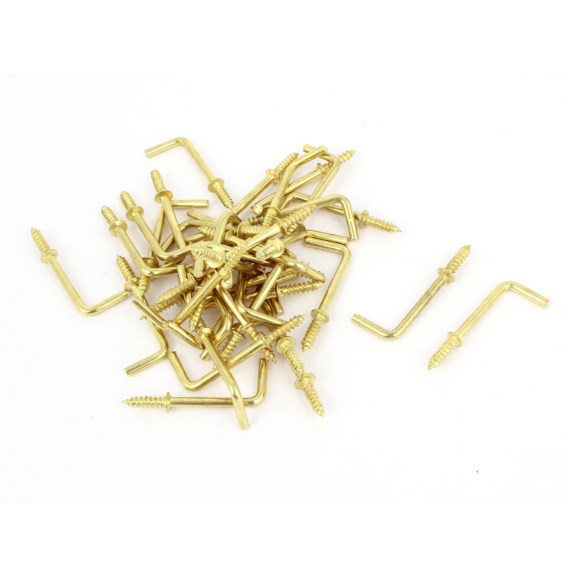 Wall Screws Mounting L Shape Coat Towel Hanging Hook Brass Tone 40 Pcs