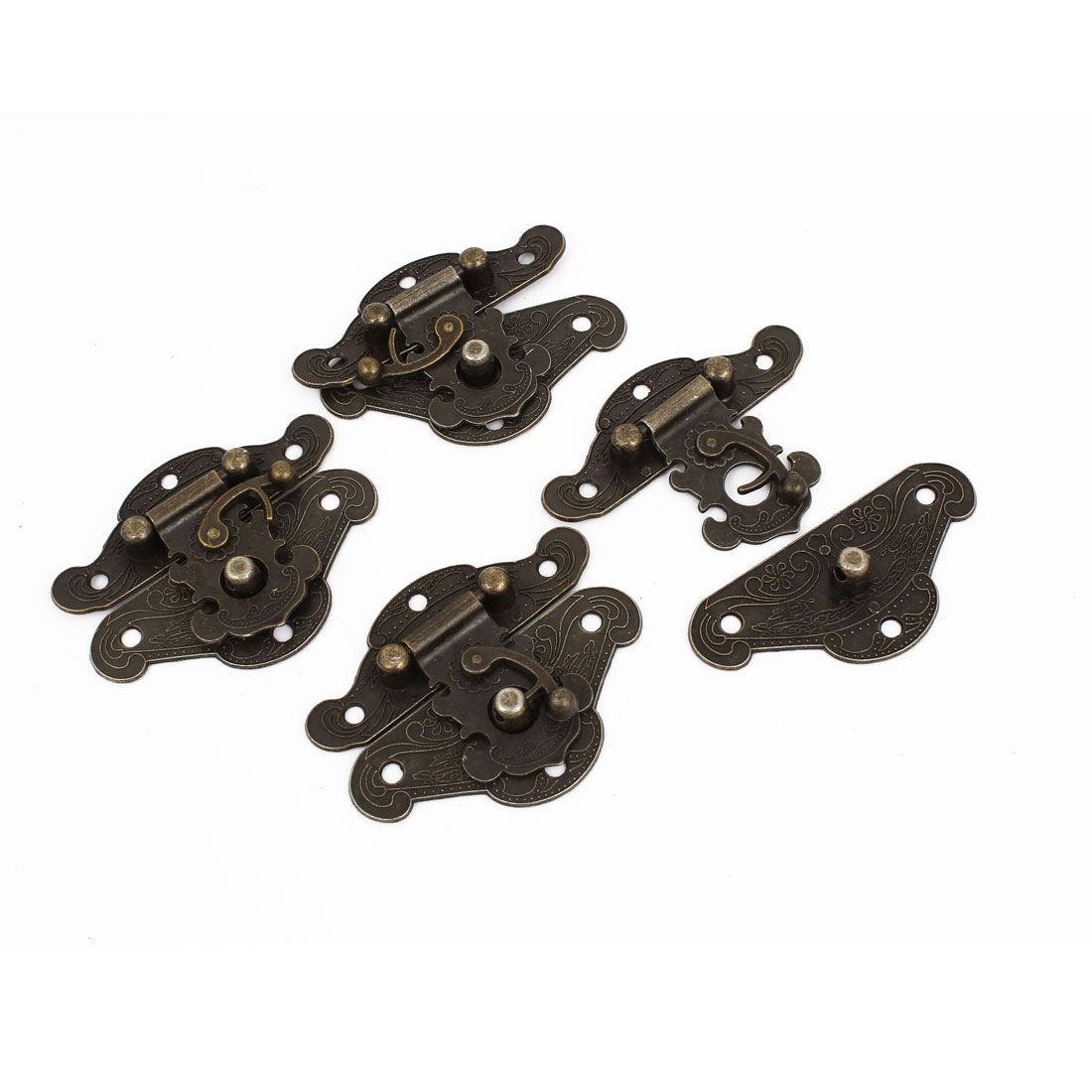"4 Pcs Antique Wood Box Latch Sets Case Locking Hinge Bronze Tone 2.6"" Long"