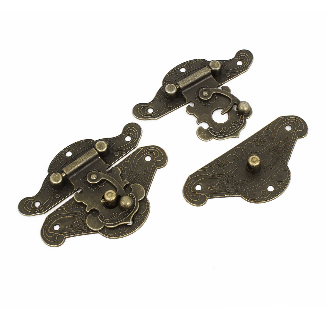 2 Pcs Antique Wood Box Latch Sets Case Locking Hinge Bronze Tone 8cm Long