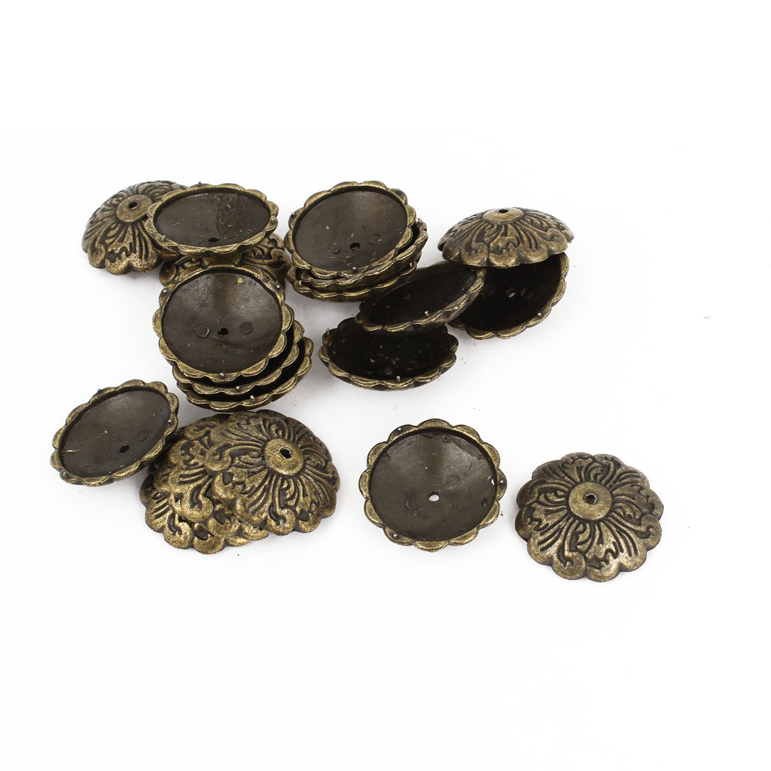 20 Pcs Bronze Tone Flower Carve Notice Board Pushpins Thumb Tacks 22mm Dia