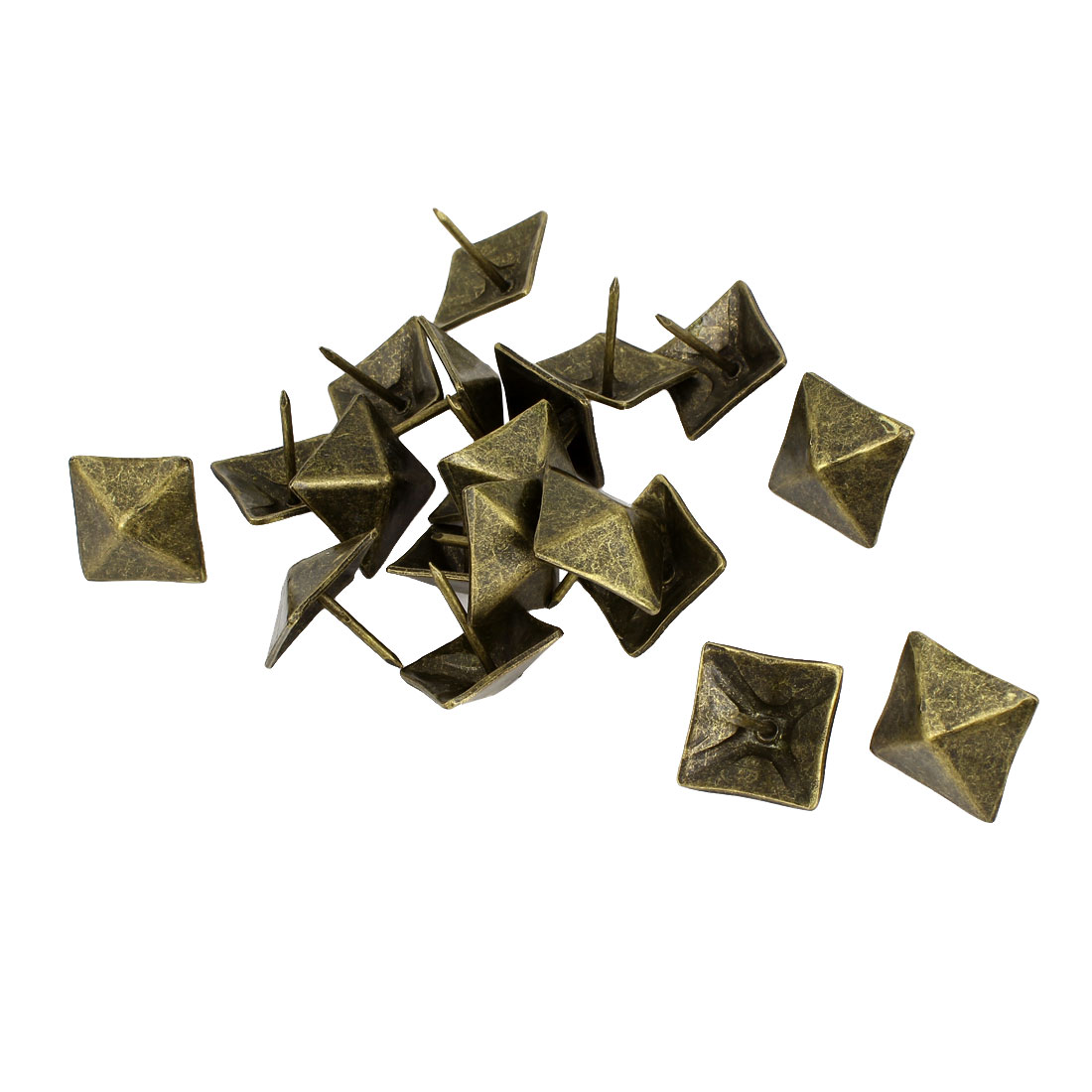 20 Pcs Bronze Tone Square Shape Message Board Pushpins Thumb Tacks 19mm Dia