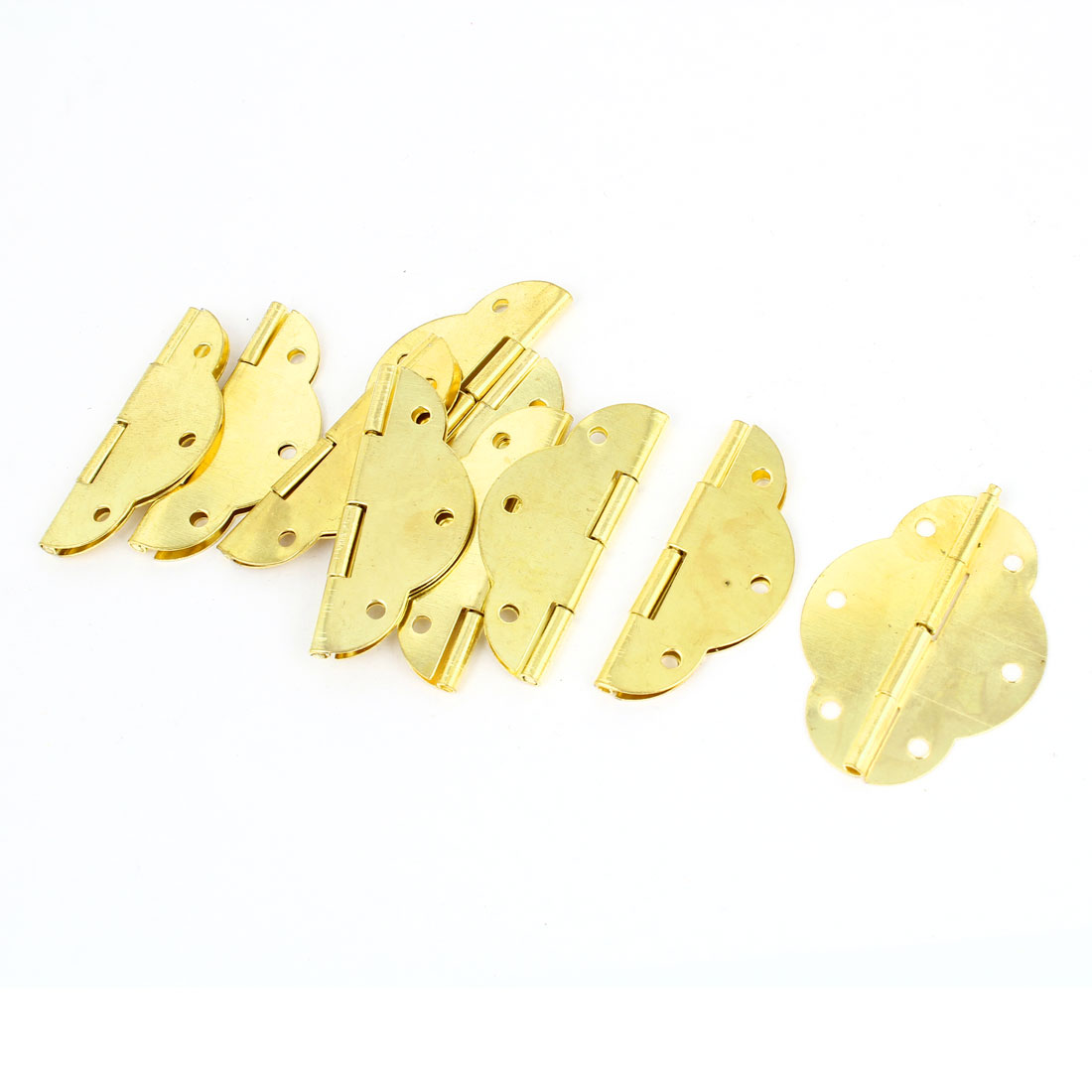 10 Pcs Gold Tone Rotatable Window Drawer Door Butt Hinges 4.5cm Long